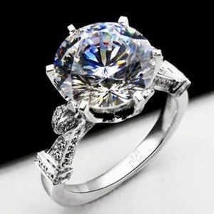 ANew Sterling Silver 4 Carat Sona Created Diamond